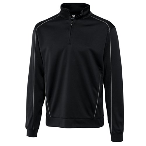 Cutter & Buck Men's CB Drytec Edge Half Zip Sweatshirt, Black, X-Large - Edge Mens Hooded Zip Sweatshirt