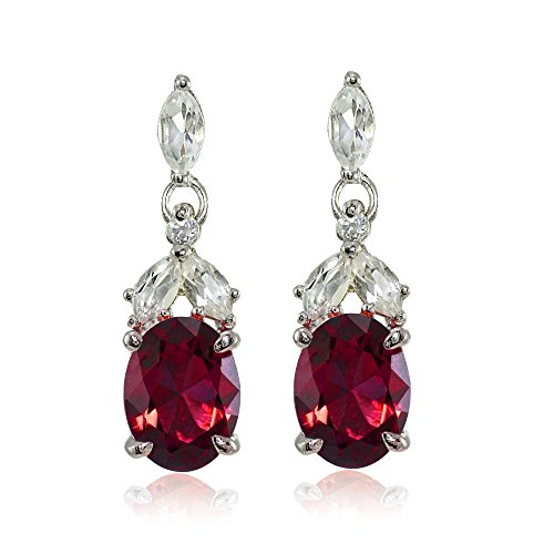 Sterling Silver Created Ruby and White Topaz Oval Dangle Earrings