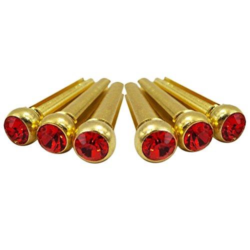 6 Bridge Pins - Set Of 6 Bridge Pins For Acoustic Guitar Replacement Parts - Red