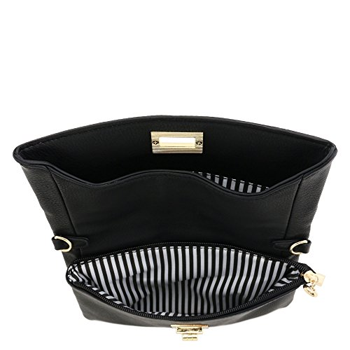 Black Compartment Bag Crossbody Clutch Double Envelope Turnlock wzqfxnC4F