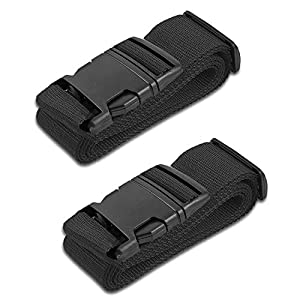 HeroFiber Black Luggage Belts Suitcase Straps Adjustable and Durable, Travel Case Accessories, 2 Pack