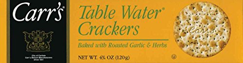 Carr's, Table Water Crackers - Roastd Garlic and Herb - 4.25 oz Flavored Crackers