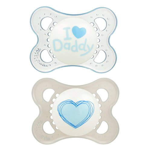 MAM Love & Affection Orthodontic Pacifier, I Love Daddy, Boy, 0-6 Months, 2-Count