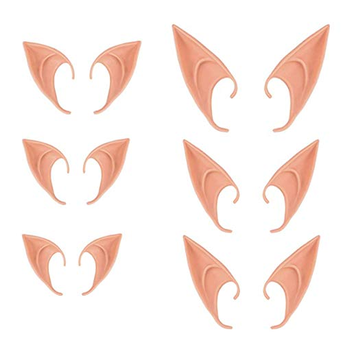 LINJIN 6 Pairs Halloween Latex Elf Ears Cosplay Masks Fairy Goblin Ears Party Dress up Costume Accessories, Light Color -