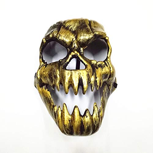 NOMSOCR Horror Mask, Halloween Mask Scary Devil Face Prank Ghost Skull Mask for Adults Kids (Gold)]()