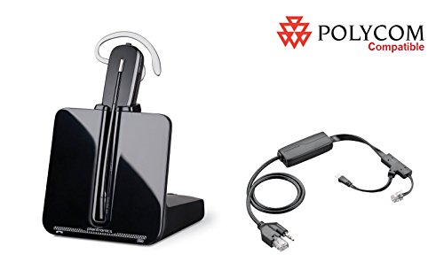 (Polycom Compatible Plantronics CS540 VoIP Wireless Headset Bundle with Electronic Remote Answer|End and Ring alert (EHS) for IP 335 430 450 550 560 650 670 | VVX 300 310 400 410 500 600 1500)
