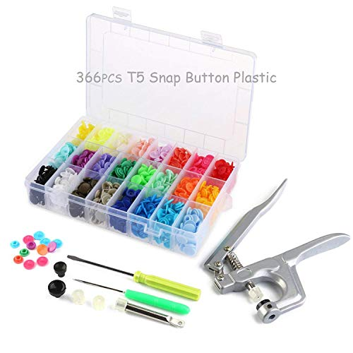 366 Sets T5 Fasteners Snap Button + Snap Plier Kit Sewing Tools for All Kinds Clothes (24 Colors, Plier for T3, T5, T8) ONSEMI