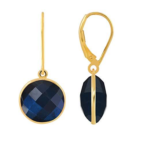 (Aurex Natural and Certified Labradorite Dangling Earrings in 14K Solid Yellow Gold | 10.67 Carat Labradorite Round Briollete Leverback Earrings for Ladies/Women/Girls )