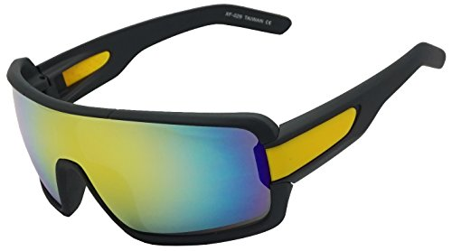 Soft Black Rubberized Outdoor Mirrored Sports Sunglasses for Baseball Cycling Running Fishing Hunting Golf Sport Glasses (Black & Yellow, - Face For Men Fat Sunglasses