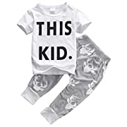 Little Boys Short Sleeve Letters Print T-shirt and Cross Pants Outfit
