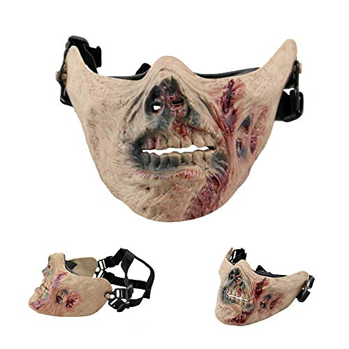 Keypower Tactical Zombie Skull Skeleton Half Face Mask Motorcycle Halloween Cosplay CS -