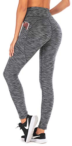 Ewedoos Yoga Pants Women Leggings with Pockets High Waist Tummy Control Workout Pants for Women Running Tights (Space Dye Gray, ()