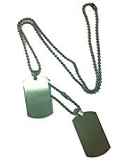 Military Army Double Stainless Steel ID Dog Tag Pendant Necklace 60cm