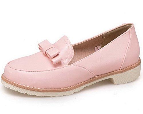 AllhqFashion Damen Ziehen auf PU Leder Rund Zehe Niedriger Absatz Rein Pumps Schuhe Pink