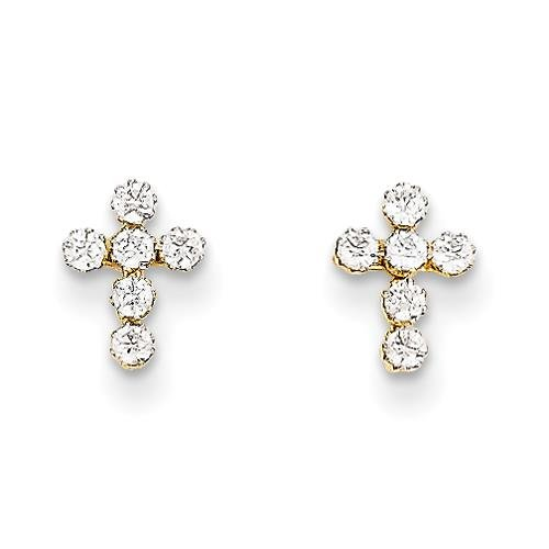 MadiK - 14k Yellow Gold Polished with Round CZ Cross Post Stud Earrings by Venture Madi K Collection