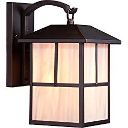 Nuvo Lighting 60/5672 Tanner Medium One Light Wall Lantern 100-watt A19 Outdoor Porch and Patio Lighting with Honey Stained Glass, Claret Bronze