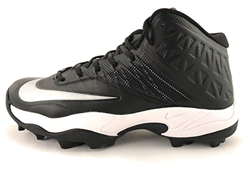 Nike Zoom Code Elite 3/4 Shark Men's Molded Football Cleats (14, Black/Metallic Silver)