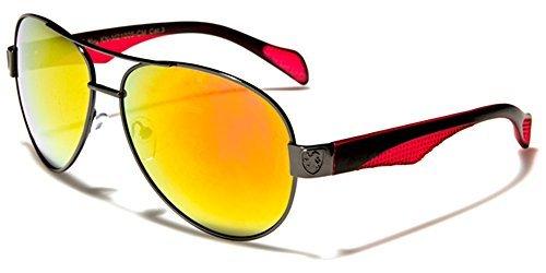 Khan Herren rechteckige enganliegende Sonnenbrillen perfekt für Sport oder Fahren Voll UV400 Schutz gratis leuchtend Hütte Tasche inklusive - schwarz/rot/Rauchglas, one size