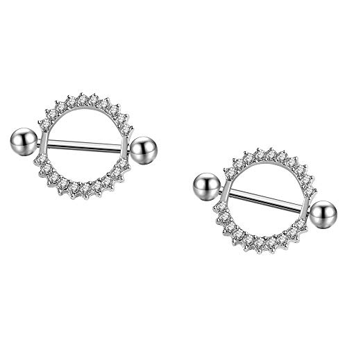 - HuayoRong 2Pcs Nipple Rings Stainless Steel Rhinestone Round Circle Body Piercing Jewelry (Clear Crystal 14G=1.6mm)