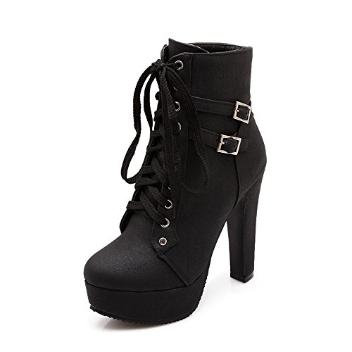 Blivener Women's High Heel Ankle Boots Platform Lace Up Booties Black US 9