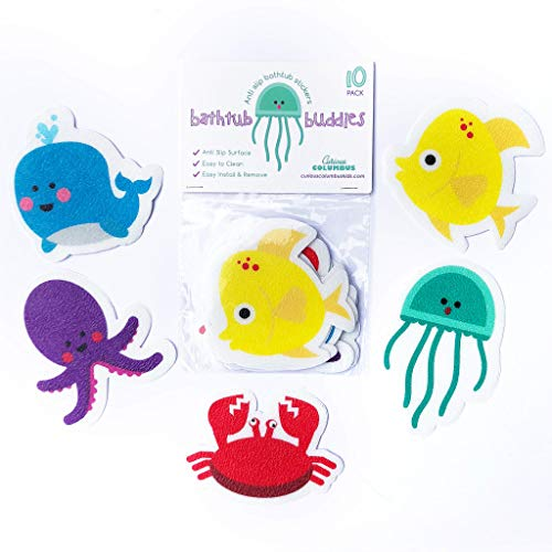 Curious Columbus Non-Slip Bathtub Stickers Pack of 10 Large Sea Creature Decal Treads. Best Adhesive Safety Anti-Slip Appliques for Bath Tub and Shower Surfaces from Curious Columbus