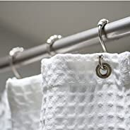 CLEAN DESIGN HOME 100% Polyester Shower Curtain Waffle, with Metal Grommets