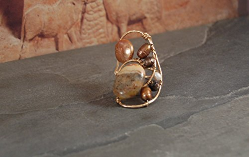 Freeform Sculptural Ring - Gold - Crazy Lace Agate - Freshwater Pearls