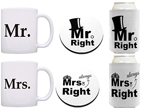 Mr Mrs Always Right Bundle 6 Pack Gift Coffee Mugs Cups Can Coolies Drink Coaster Bundle White