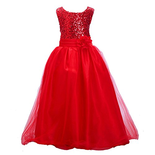 Z.D Girls Wedding Dress Ball Gown Bridesmaid Tull Sequined Sleeveless Dress,Red,120(US 6)