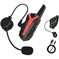 Motorcycle Helmet Communication System Bluetooth headset Intercom Walkie-Talkie with PTT Wireless Control 16 Channels/Waterproof/1 Pack