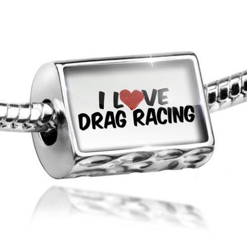 Charm I Love Drag Racing - Bead Fit All European Bracelets , Neonblond