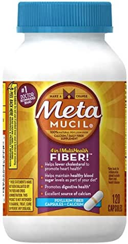 Metamucil Fiber with Calcium, 3-in-1 Psyllium Capsule Fiber Supplement with Calcium for Bone Health, 120 ct Capsules (Packaging May Vary)