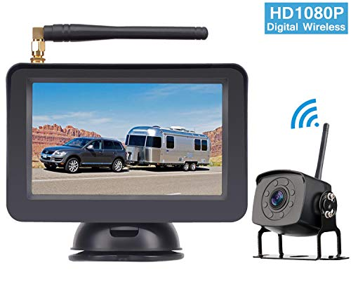 HD 1080P Digital Wireless Backup Camera System for RV/Truck/Van/Trailer/Pickup with
