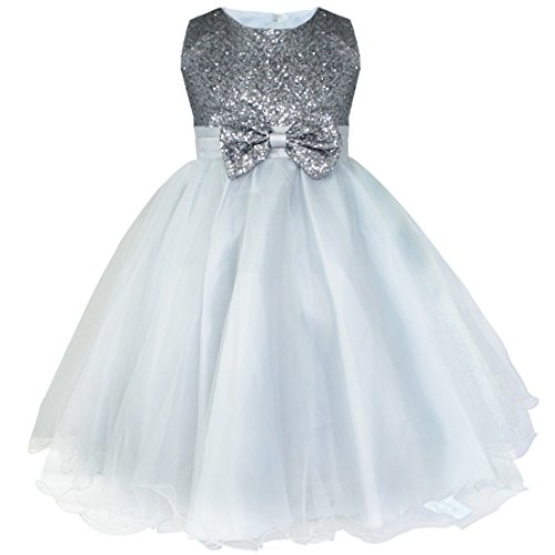 CHICTRY Sequined Bodice Tutu Kids Girls Formal Party Wedding Pageant Christening Gown Flower Dress Gray 11-12 - Sequined Bodice