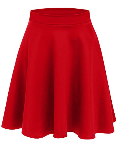 Simlu Womens Skater Skirt, A Line Flared Skirt Reg & Plus Size Skater Skirts USA (Size Small, Red - Midi) -