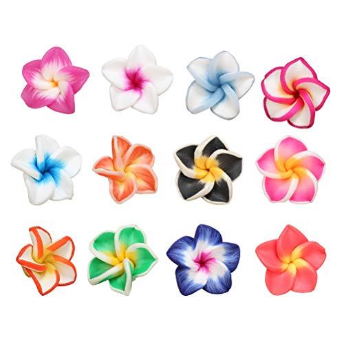 15 Mm Pendant Plumeria (STOBOK 20pcs Clay Plumeria Flower Handmade DIY Flower Charm for Barrettes Bracelet Jewelry Making 15mm (Random Color))