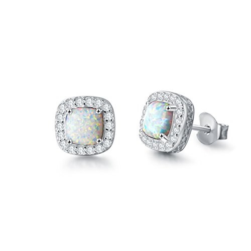 Carleen Jewelry 14K White Gold Plated 925 Sterling Silver CZ Cubic Zirconia/Created Opal Halo Stud Earrings for Women Gilrs