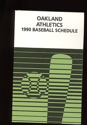 Mlb Baseball Schedule (1990 Oakland A's MLB Baseball Schedule MINT)