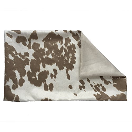 Chloe & Olive Handmade Faux Fur Cowhide Decorative Throw Toss Pillowcase - Western Decor - Tan and Cream 12x20