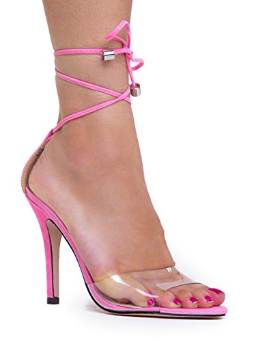Strappy Lace Up Sandal - Sexy Open Toe High Heel Wrap - Party Dressy Pom pom Clear Ankle Wrap Heel