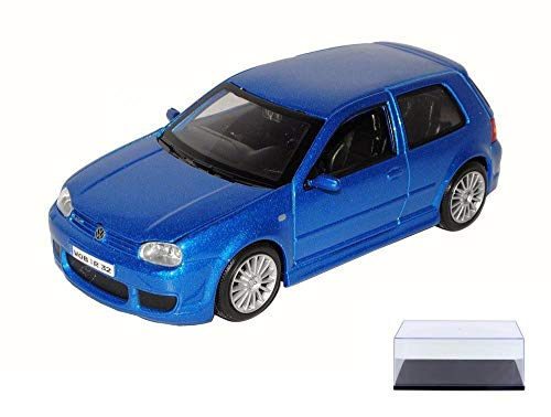 Diecast Car & Display Case Package - Volkswagen Golf R32, Metallic Blue - Maisto 31290BU - 1/24 Scale Diecast Model Toy Car w/Display - Vw R32 Model