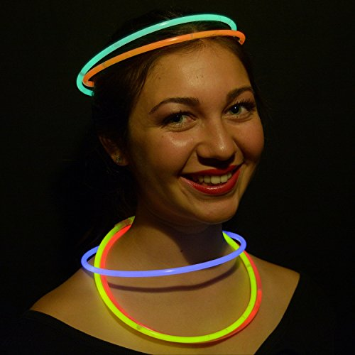 200 Glow Sticks Bulk Wholesale Necklaces, 22'' Glow Stick Necklaces+200 FREE Glow Bracelets! Bright Colors Glow 8-12 Hr, Connector Pre-attached(handy), Glow-in-the-dark Party Supplies, GlowWithUs Brand by Glow With Us (Image #1)