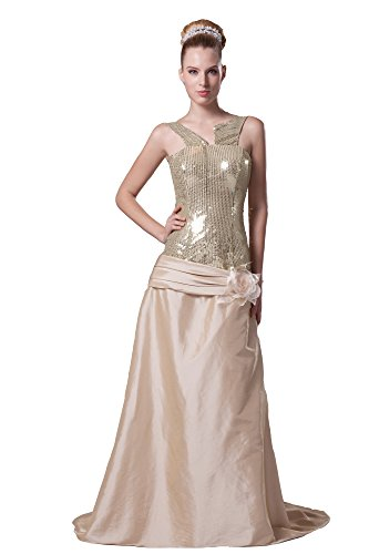 Vogue007 Womens V-neck Sleeveless Taffeta Pongee Full Dress with Sequin, Gold, 16 by Unknown