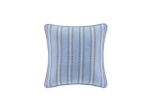 Echo Design Kamala Striped Embroidery Square Pillow, 16 x 16 , Blue