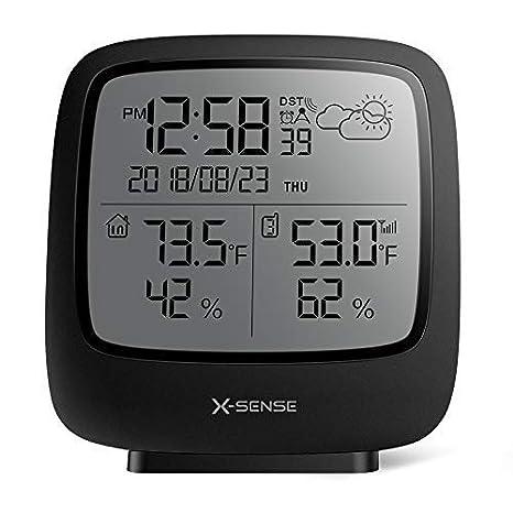X-Sense Estación Meteorológica Inalámbrica Alcance Inalámbrico De 150 m, Pantalla Grande LCD Retroiluminado, Reloj Atómico, Monitor De Temperatura Y Humedad ...