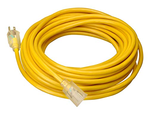 Coleman Cable 02689 10/3 Vinyl Outdoor Extension Cord with Lighted End, 100-Foot -