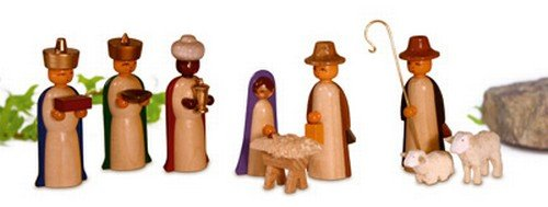 Miniatures figures, colored glazed 4,5cm miniature Christmas figure ore mountains