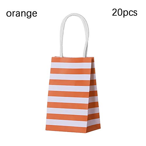 Unstopup 5/10/20PCS Multi-function Cross Stripe Paper Bags Birthday Party Handbag Gift Wrapping Packing Carrier Black Wedding Supplies(20PCS,orange)