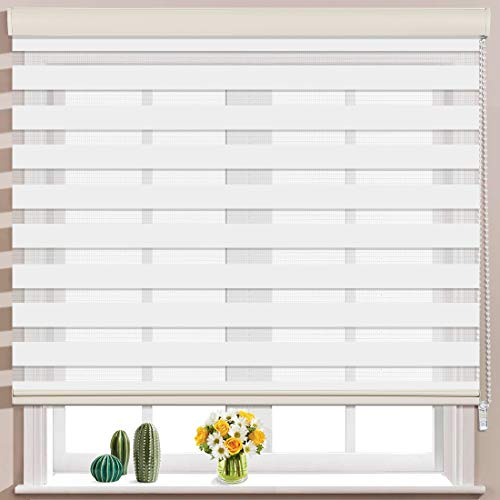 Keego Window Blinds Custom Cut to Size, White Zebra Blinds with Dual Layer Roller Shades, [Size W 42 x H 60] Dual Layer Sheer or Privacy Light Control for Day and Night