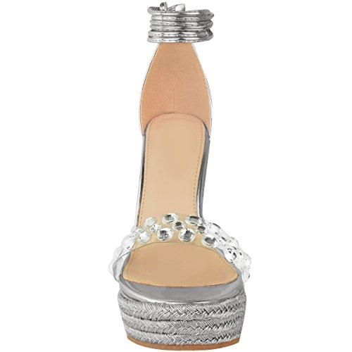 Fashion Thirsty heelberry Mujer pedrería Sandalias De Cuña Tobillo Cordones Tiras Fiesta Boda Verano Plata Metálico